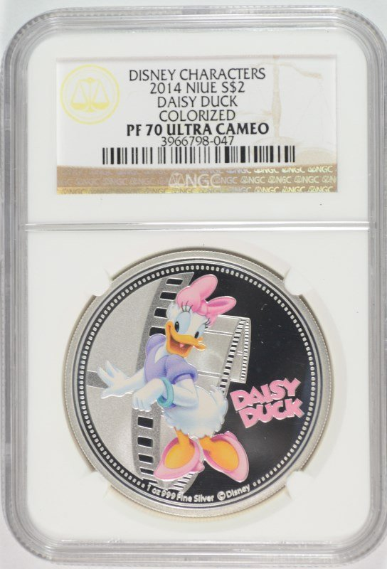 2014 NIUE ONE OUNCE SILVER DAISY DUCK COLORIZED COIN