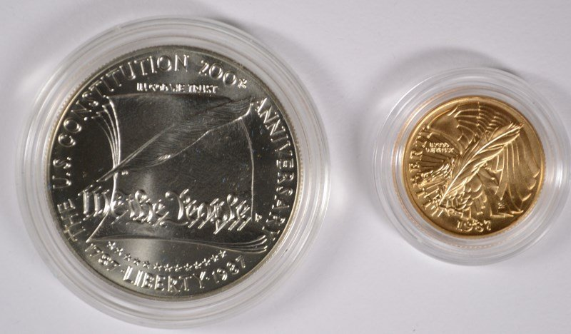 1987 U.S. CONSTITUTION 2 PIECE SET $5 GOLD AND SILVER