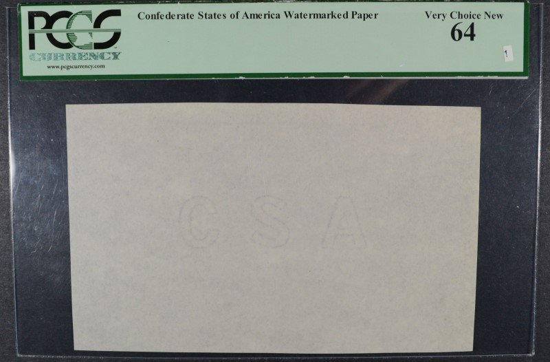 CONFEDERATE STATES OF AMERICA WATERMARKED PAPER ( CSA )