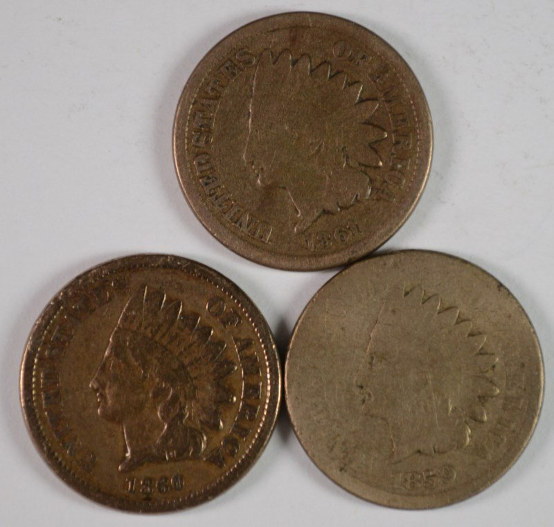 INDIAN ONE CENT: 1859 G, 1860 VG-F, 1861 G-VG