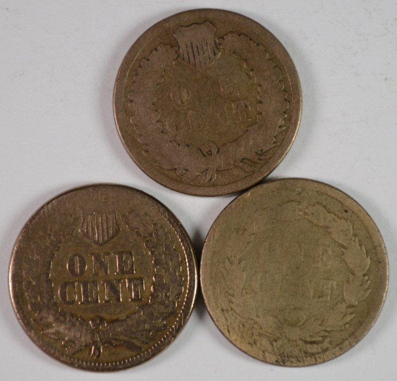 INDIAN ONE CENT: 1859 G, 1860 VG-F, 1861 G-VG - 2