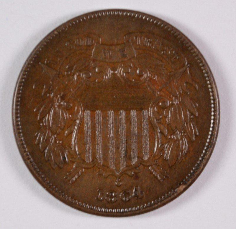 1864 2-CENT PIECE LARGE MOTTO,  UNC BROWN