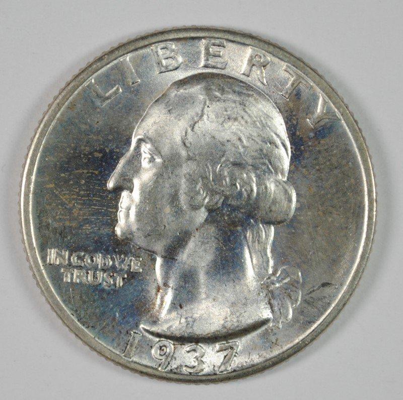 1937-D WASHINGTON QUARTER, CHOICE BU  BETTER DATE