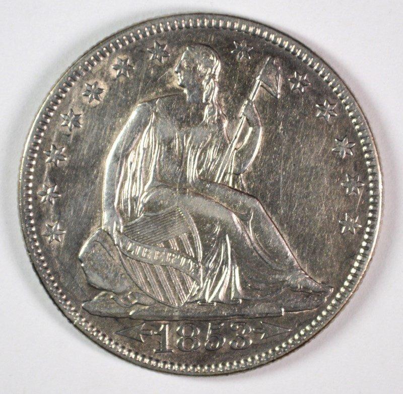 1853 ARROWS AND RAYS SEATED LIBERTY HALF DOLLAR AU