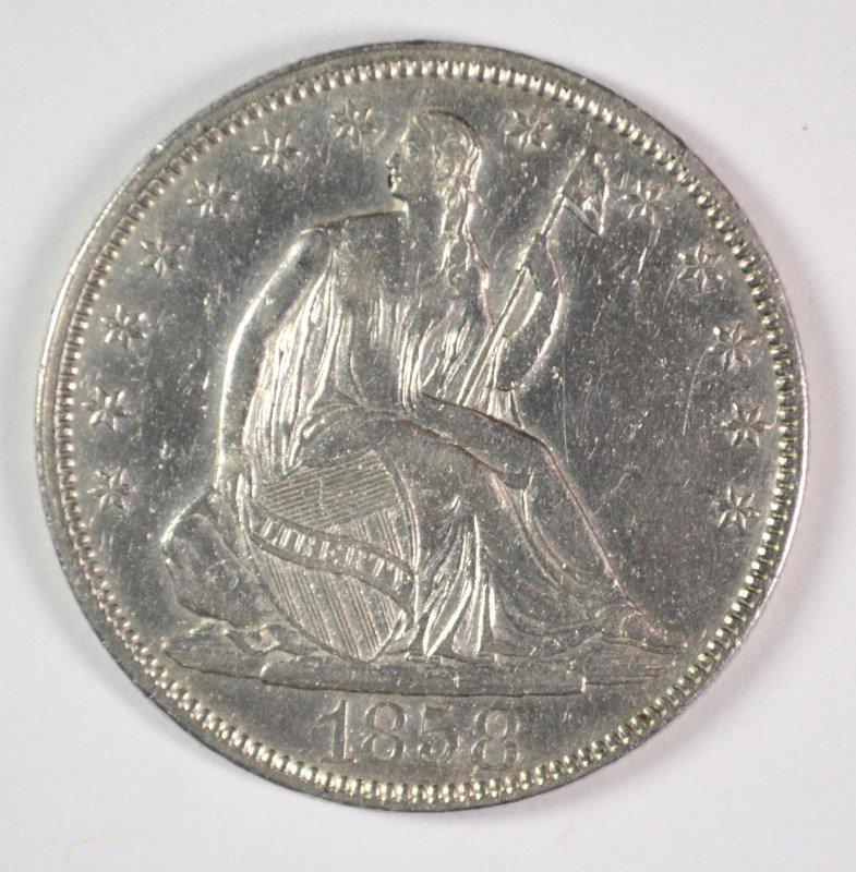 1858 SEATED LIBERTY HALF DOLLAR AU