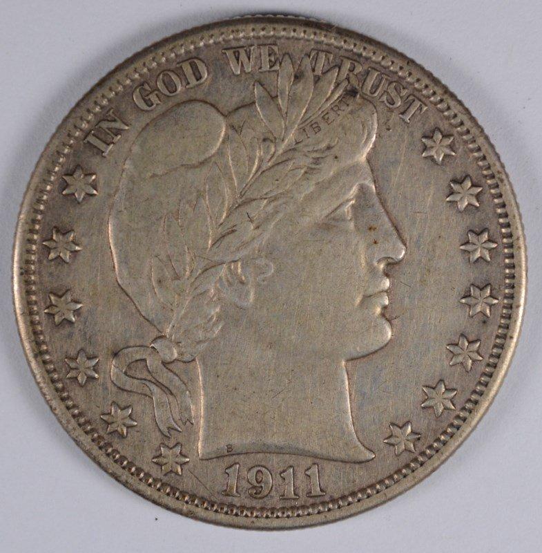 1911 BARBER HALF DOLLAR, AU ORIGINAL!