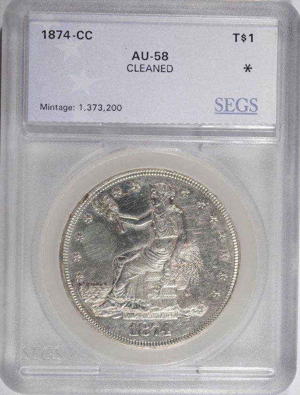 1874-CC TRADE DOLLAR SEGS AU DETAILS