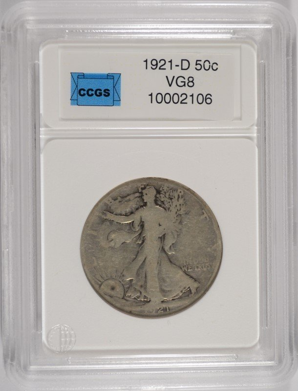 1921-D WALKING LIBERTY HALF DOLLAR VG KEY COIN