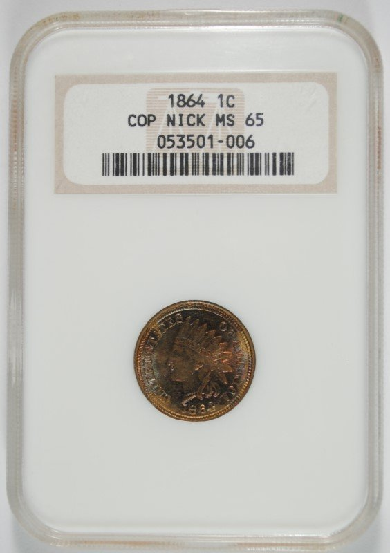 1864 COPPER NICKEL INDIAN CENT NGC MS-65 OLD HOLDER
