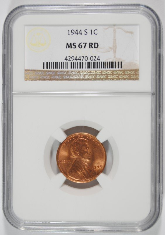 1944-S LINCOLN CENT, NGC MS-67 RED NGC PRICE