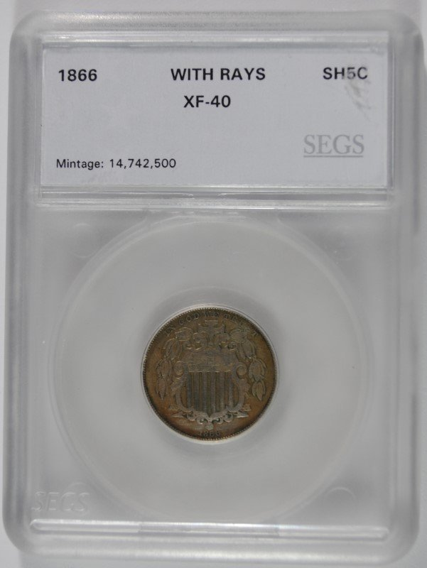 1866 SHIELD NICKEL, SEGS XF  NICE