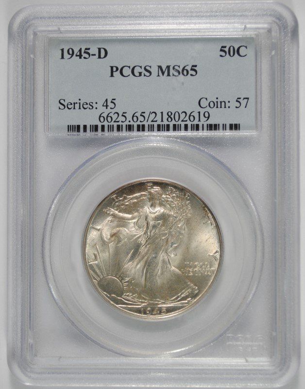 1945-D WALKING LIBERTY HALF PCGS MS-65