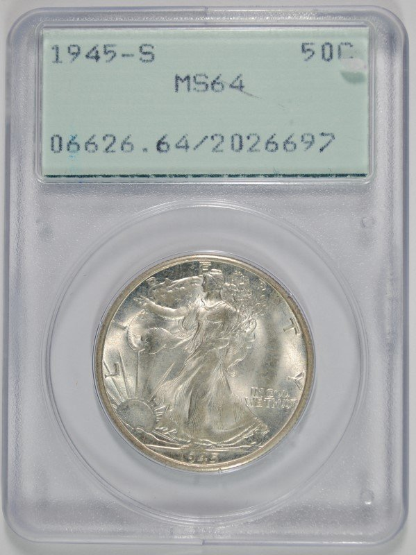 1945-S WALKING LIBERTY HALF PCGS MS-64 OLD RATTLER