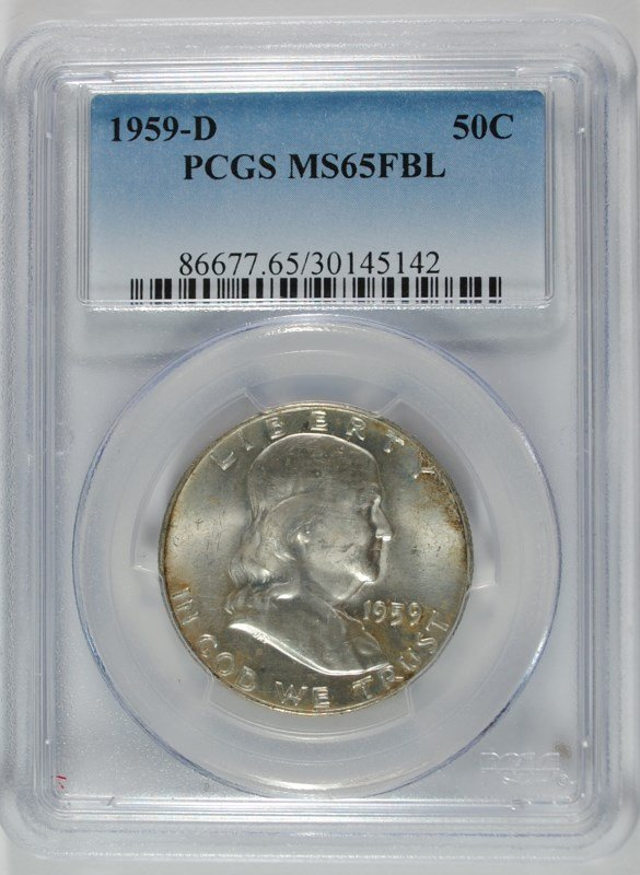 1959-D FRANKLIN HALF DOLLAR, PCGS MS-65 FBL