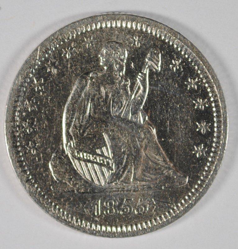 1855 ARROWS SEATED QUARTER, AU/UNC  NICE!