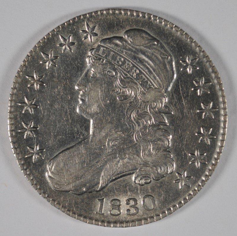1830 BUST HALF DOLLAR, AU/UNC  NICE LUSTRE