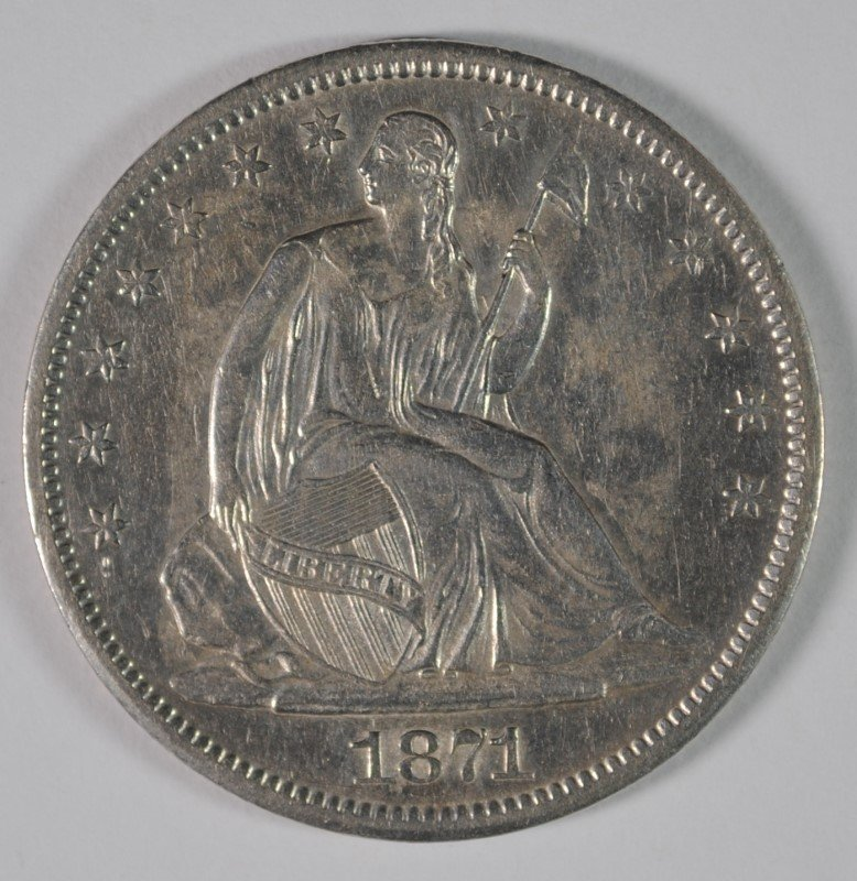 1871-S SEATED HALF DOLLAR, AU/UNC  SCARCE!