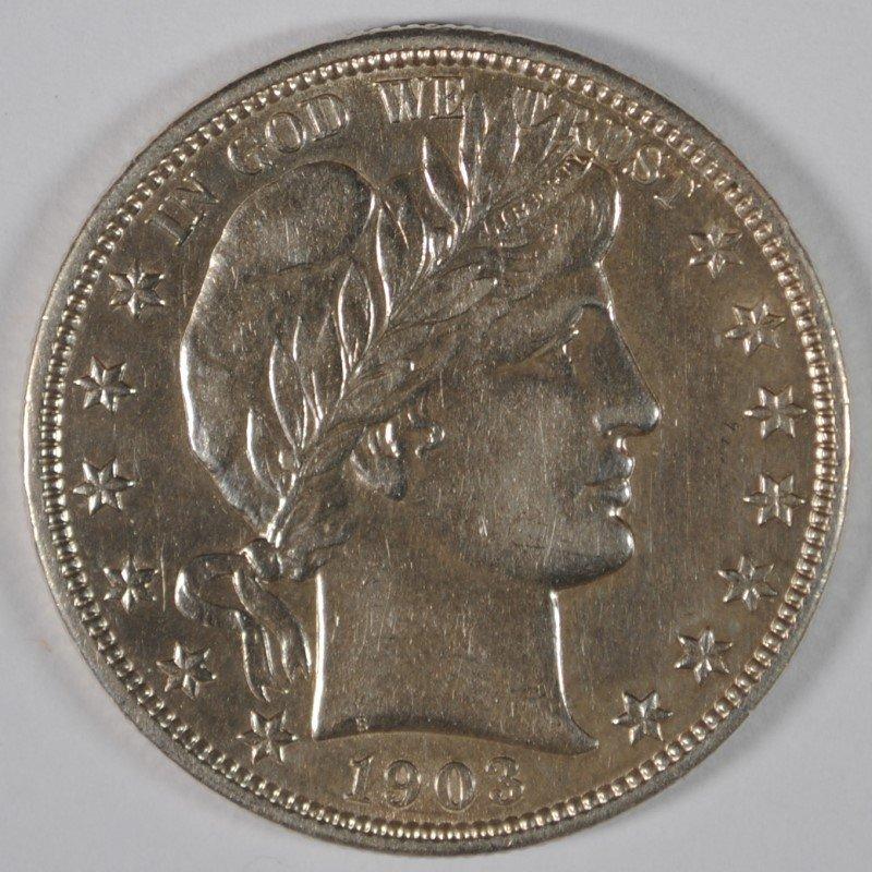 1903-O BARBER HALF DOLLAR, AU/UNC  VERY NICE, SEMI-KEY