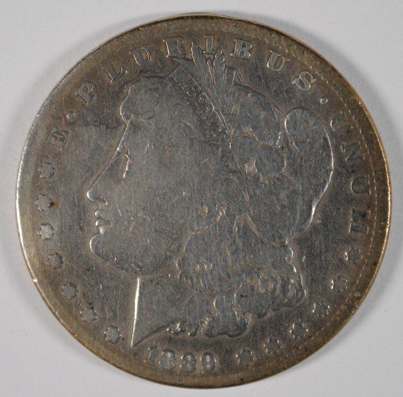 1889-CC MORGAN SILVER DOLLAR, KEY DATE, NICE VG