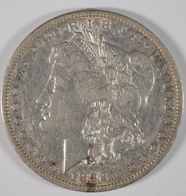 1892-S MORGAN SILVER DOLLAR, XF/AU LUSTRE  SEMI-KEY