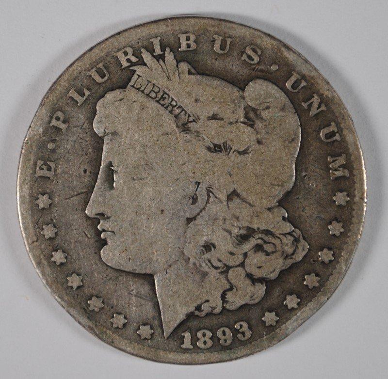1893-CC MORGAN SILVER DOLLAR, GOOD  RIM BUMPS, KEY