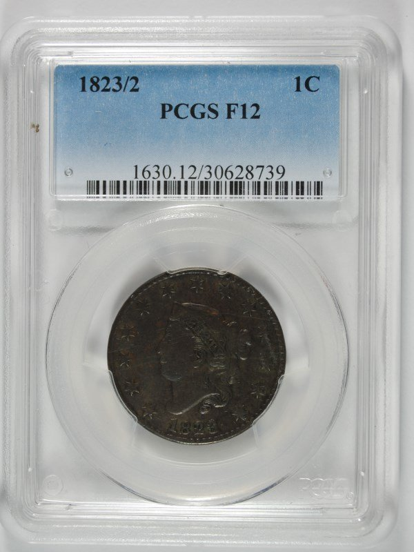1823/2 LARGE CENT, PCGS FINE-12