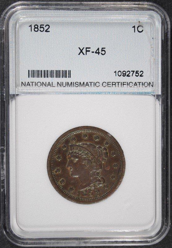 1852 LARGE CENT NNC XF/AU