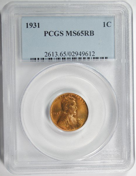 1931 LINCOLN CENT PCGS MS65 RB