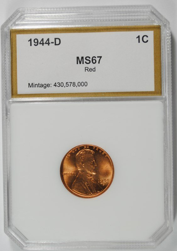 1944-D LINCOLN CENT, PCI SUPERB RED BU+