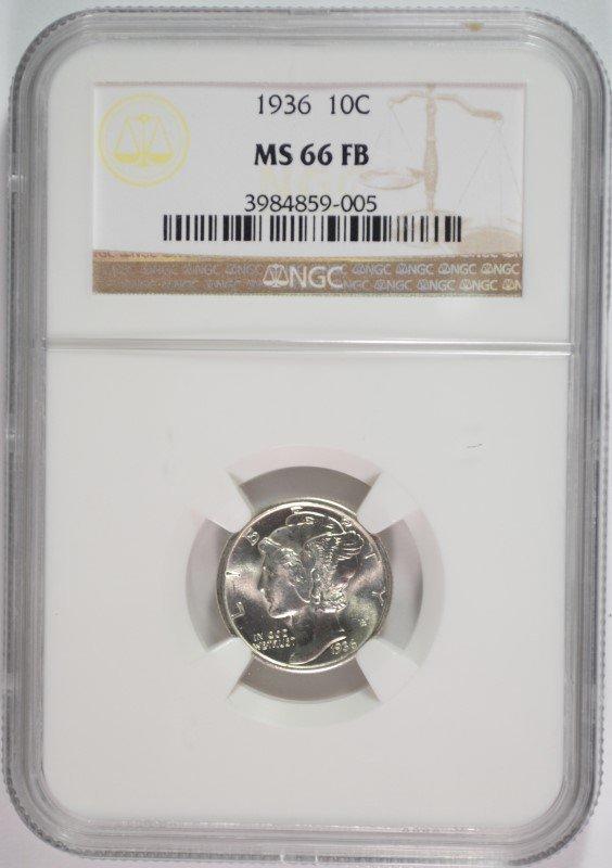 1936 MERCURY DIME, NGC MS-66 FULL BANDS NGC PRICE