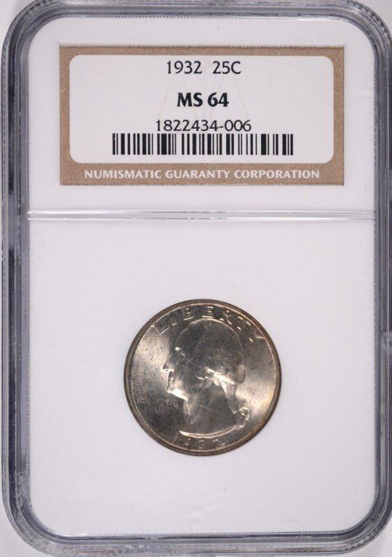 1932 WASHINGTON QUARTER, NGC MS-64