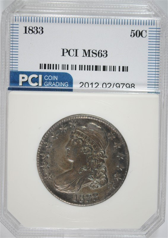 1833 CAPPED BUST HALF DOLLAR, PCI  CHOICE BU  COLORFUL