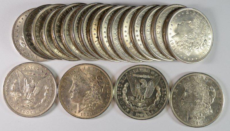 AU / BU ROLL of 1921 MORGAN SILVER DOLLARS - ALL NICE