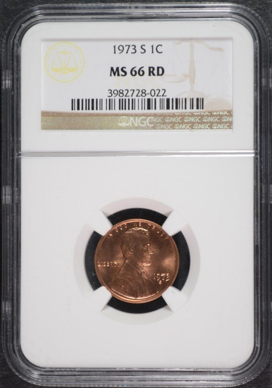 1973-S LINCOLN CENT, NGC MS-66 RED