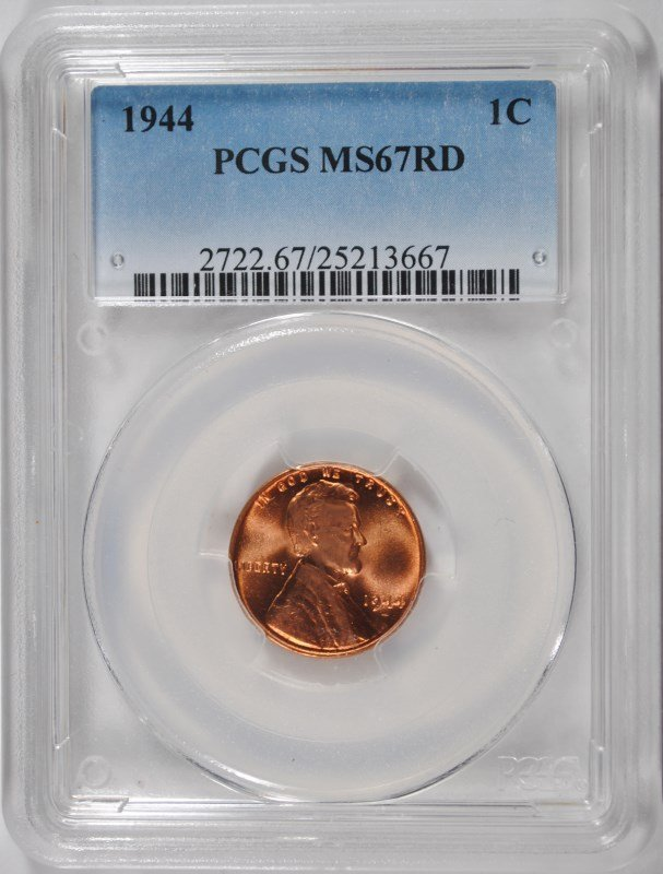 1944 LINCOLN CENT, PCGS MS-67 RED