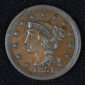 1851 Large Cent Ch Au Nice