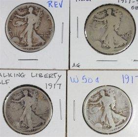 4 Walking Liberty Half Dollars 2- 1917 Vg & Ag, 1917-s