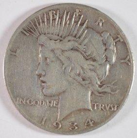1934-s Peace Dollar Vf+ Key Date