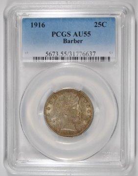 1916 Barber Quarter Pcgs Au55