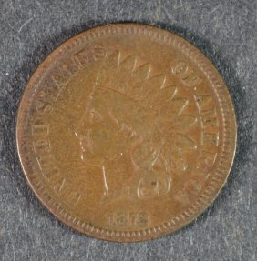 1872 Indian One Cent Vf Rare Date