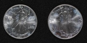 ( 2 ) 1990 Uncirculated American Silver Eagles,