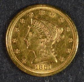 1861 $2.5 Gold Liberty Ch Bu