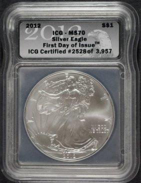 2012 American Silver Eagle Icg Ms 70