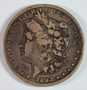 1893-cc Morgan Silver Dollar, F/vf