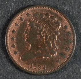 1832 Half Cent - Vf Cleaned
