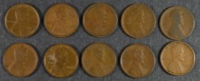 ( 9 ) 1909 Vdb & ( 1 ) 1909 Lincoln Cents, Various