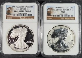 2012-s American Silver Eagle Set, Ngc Reverse Proof