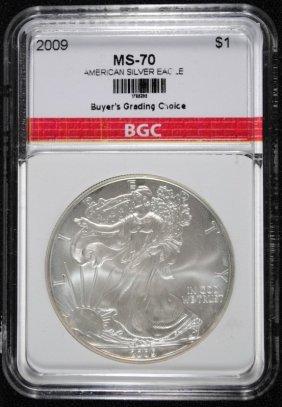 2009 American Silver Eagle Bgc Graded Superb Gem+
