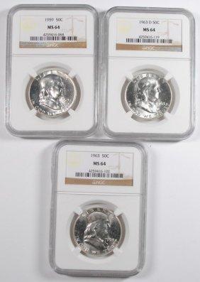 1959, '63 & '63-d Franklin Half Dollars, Ngc Ms-64