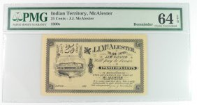 1900-1909 25 Cent Indian Territory Trade Note Jj